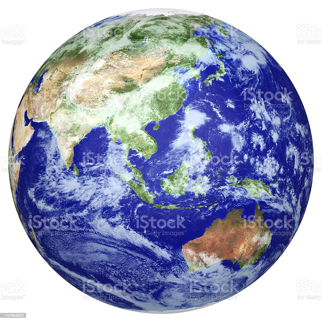 Close-up of earth globe with Asian pacific side royalty-free stock photo