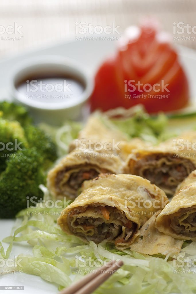 closeup of Egg rolls stock photo
