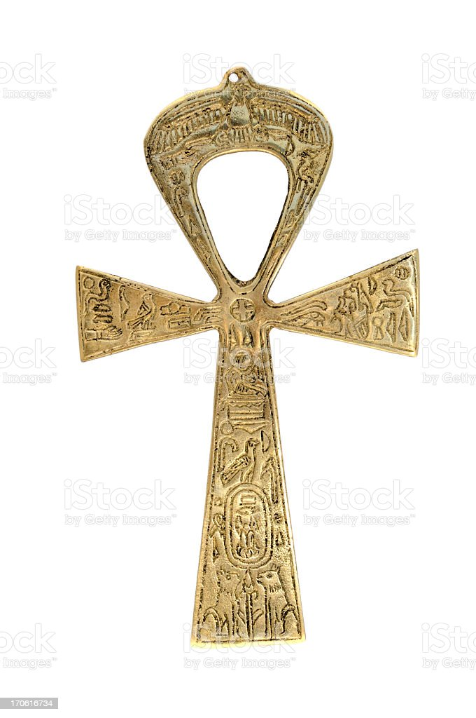Close-up of Egyptian  Ankh cross isolated on white stock photo