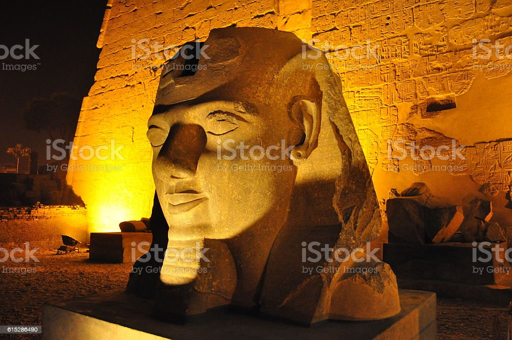 Close-up of Egyptian statue in illumination stock photo