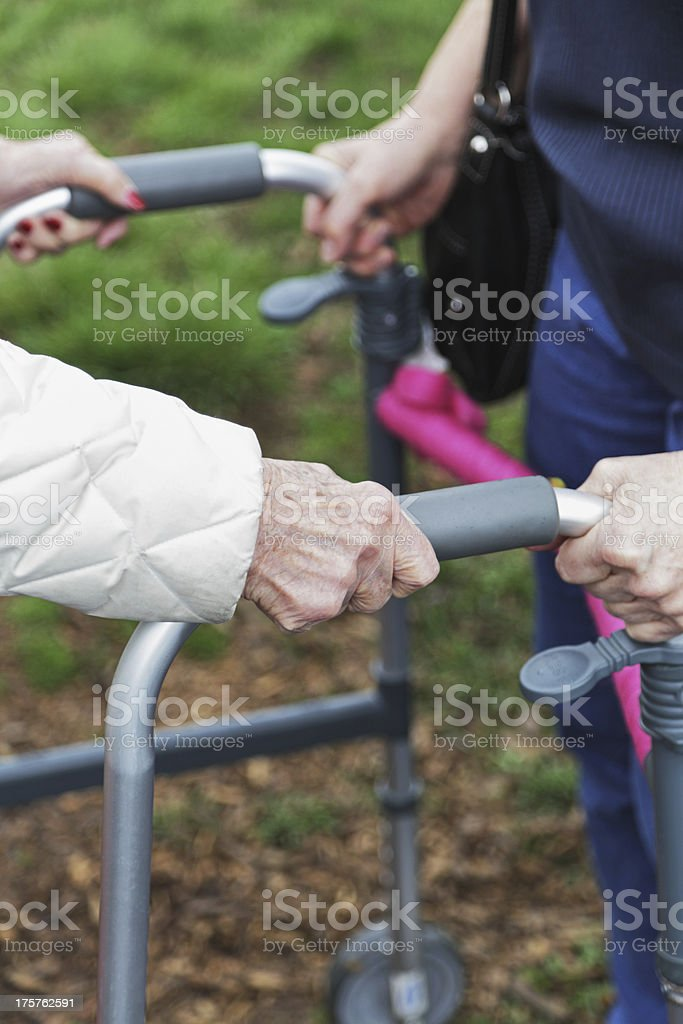 Close-Up of Elderly Woman Assisted With Orthopedic Walker royalty-free stock photo