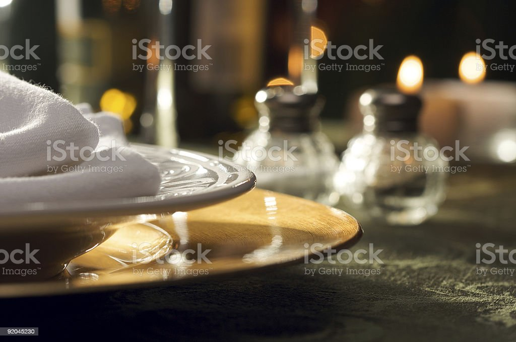 Close-up of elegant dinner place setting royalty-free stock photo