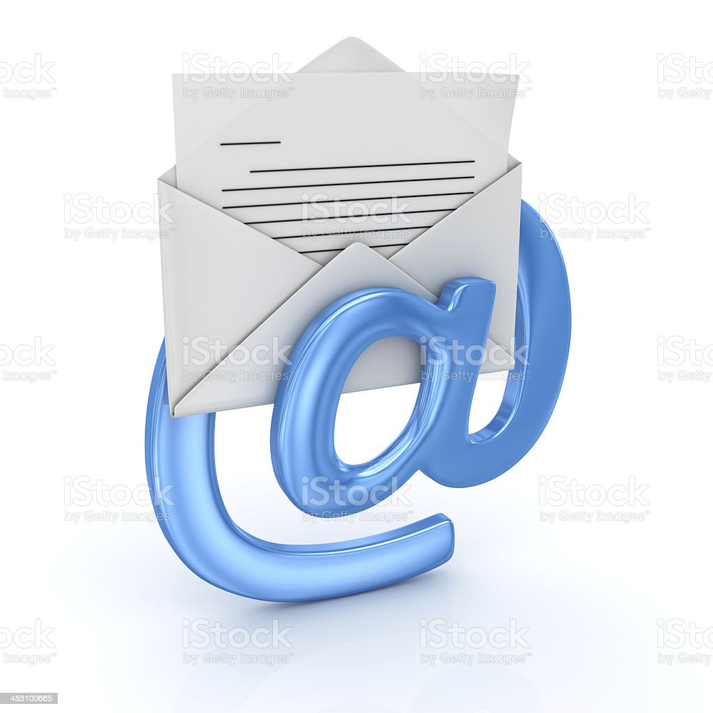 Close-up of e-mail icon, isolated on white background stock photo
