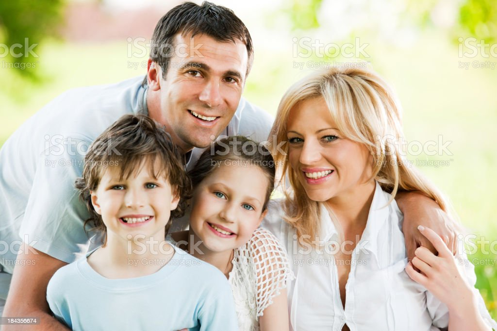 Close-up of embraced family. royalty-free stock photo