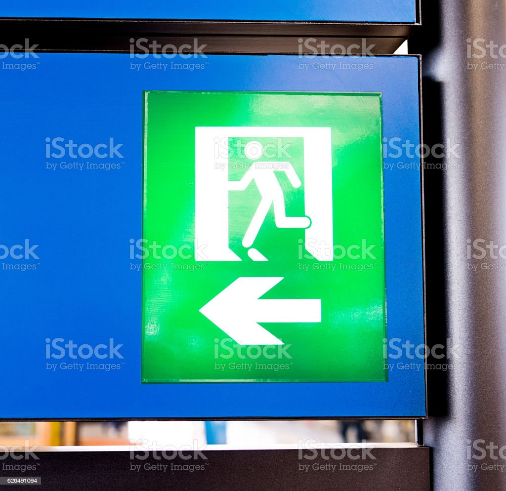 Close-up of emergency exit sign stock photo