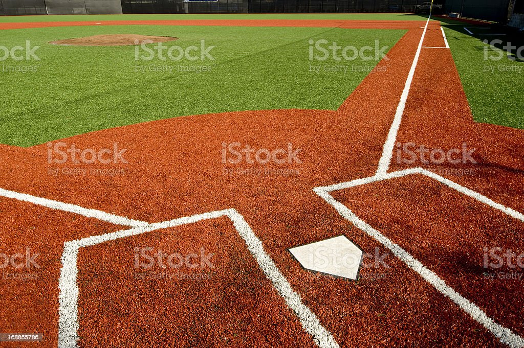 Closeup of empty baseball field stock photo