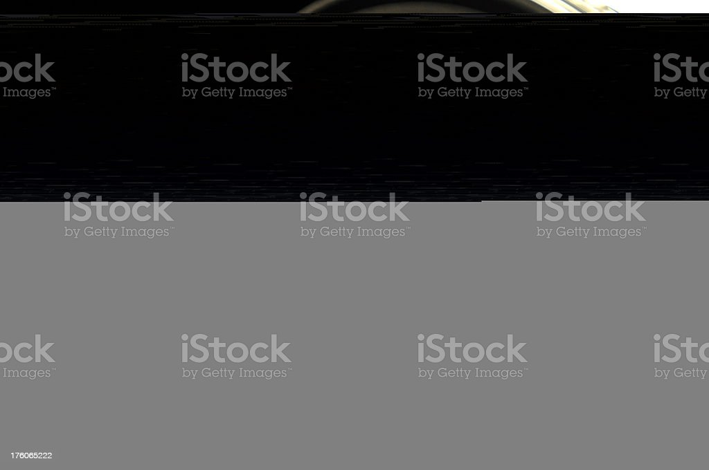 Close-up of empty store shelves royalty-free stock photo
