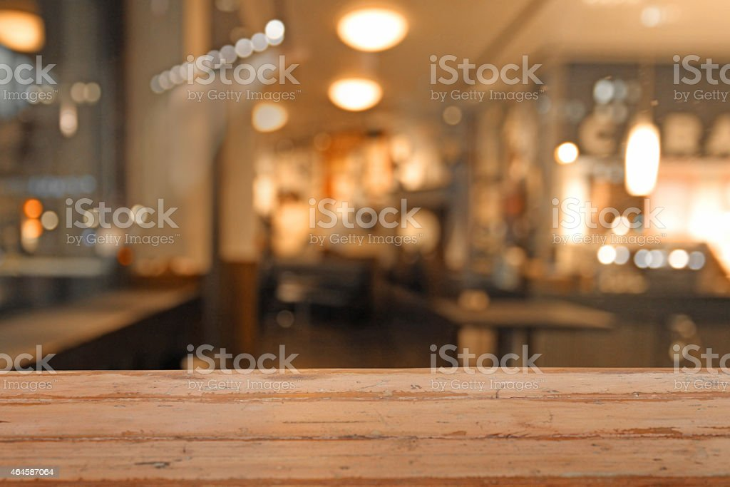 Close-up of empty table in a pub restaurant, defocused background stock photo