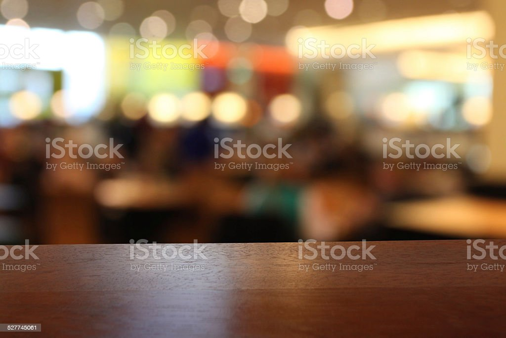 Close-up of empty table in a restaurant, defocused background stock photo