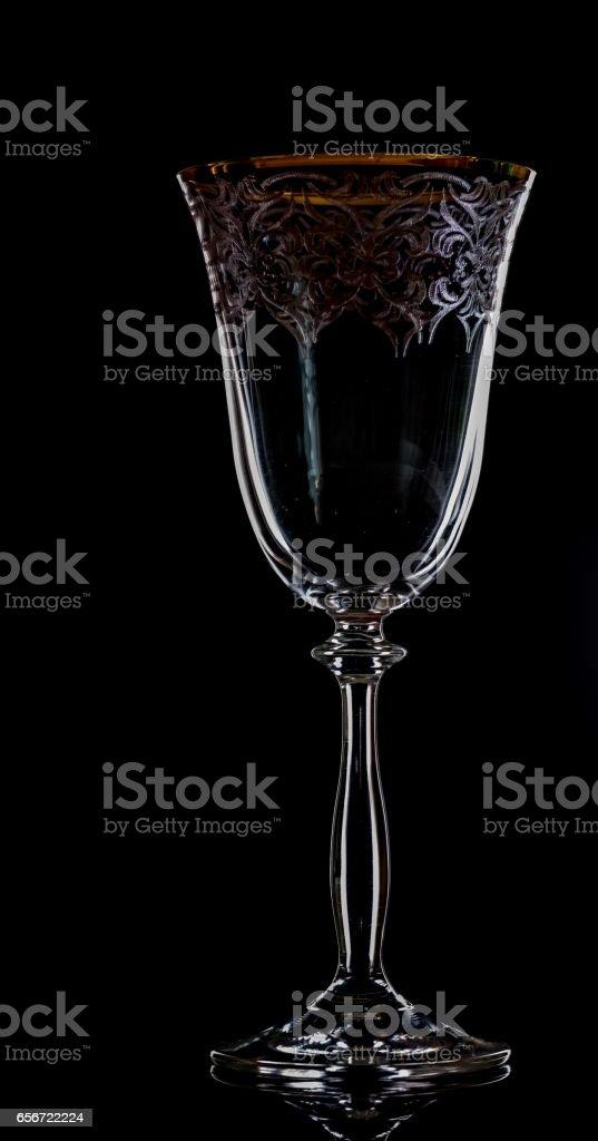 Close-Up Of Empty wine glass on black stock photo