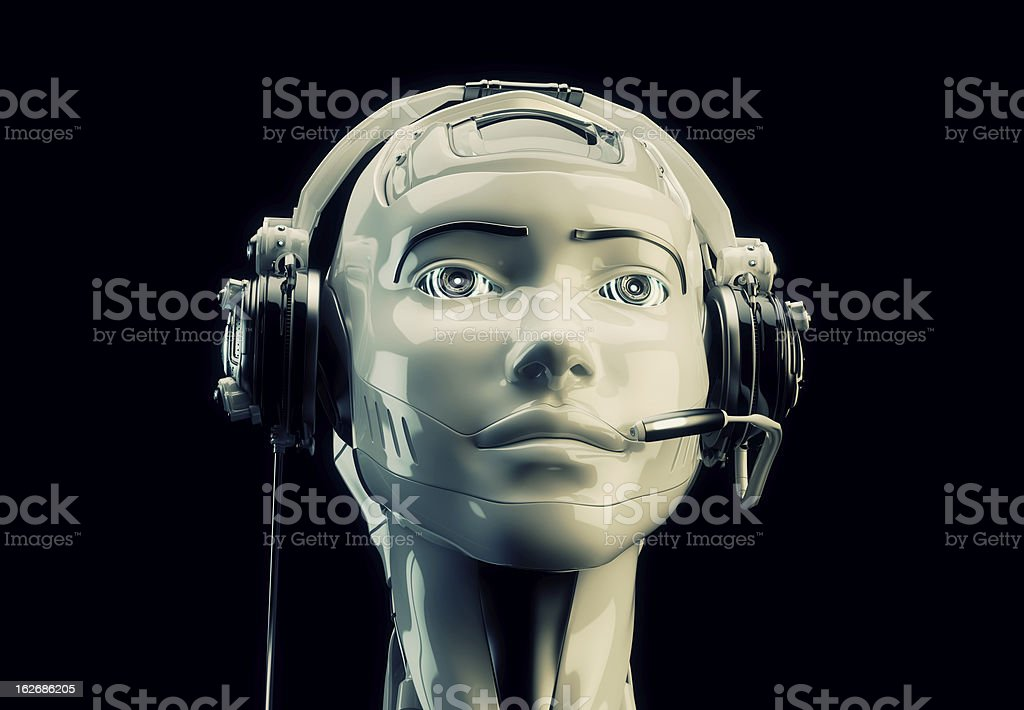 Close-up of emulation robotic operator with headset royalty-free stock photo