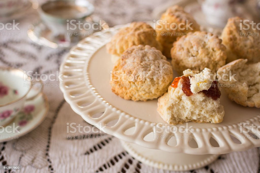 Close-up of English scones with clottted cream and jam stock photo