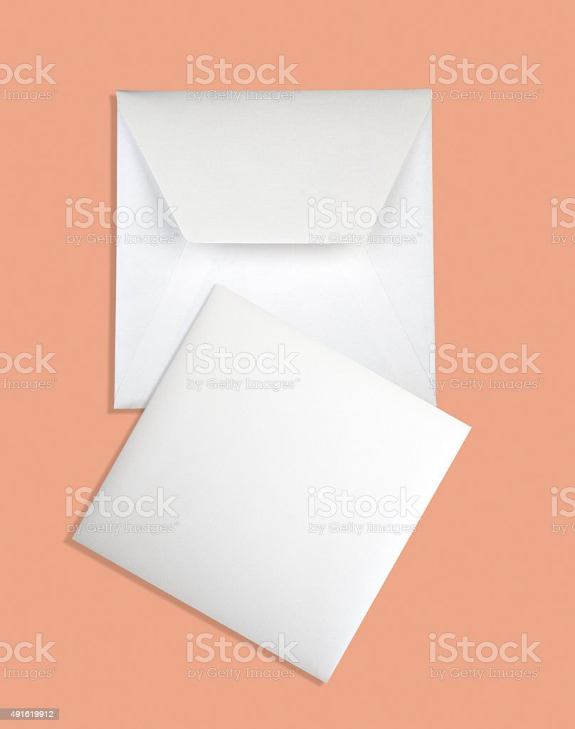 Close-up of envelope and card. stock photo