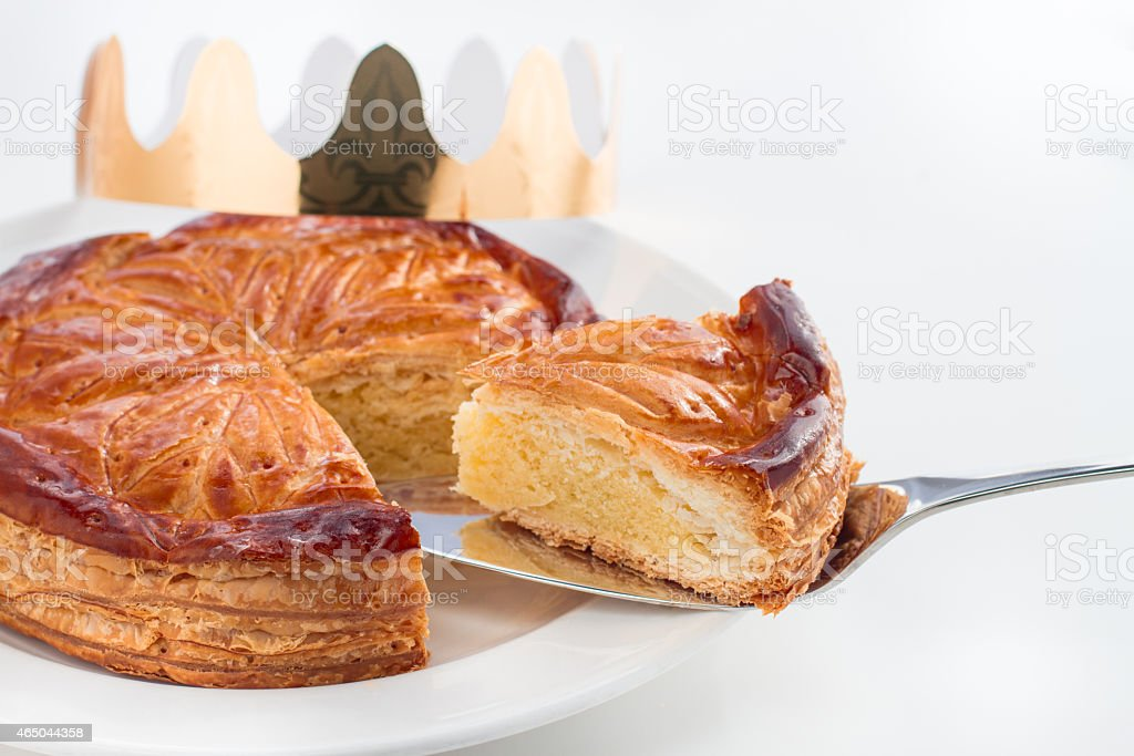 Close-up of Epiphany King cake - Galette des Rois on white stock photo