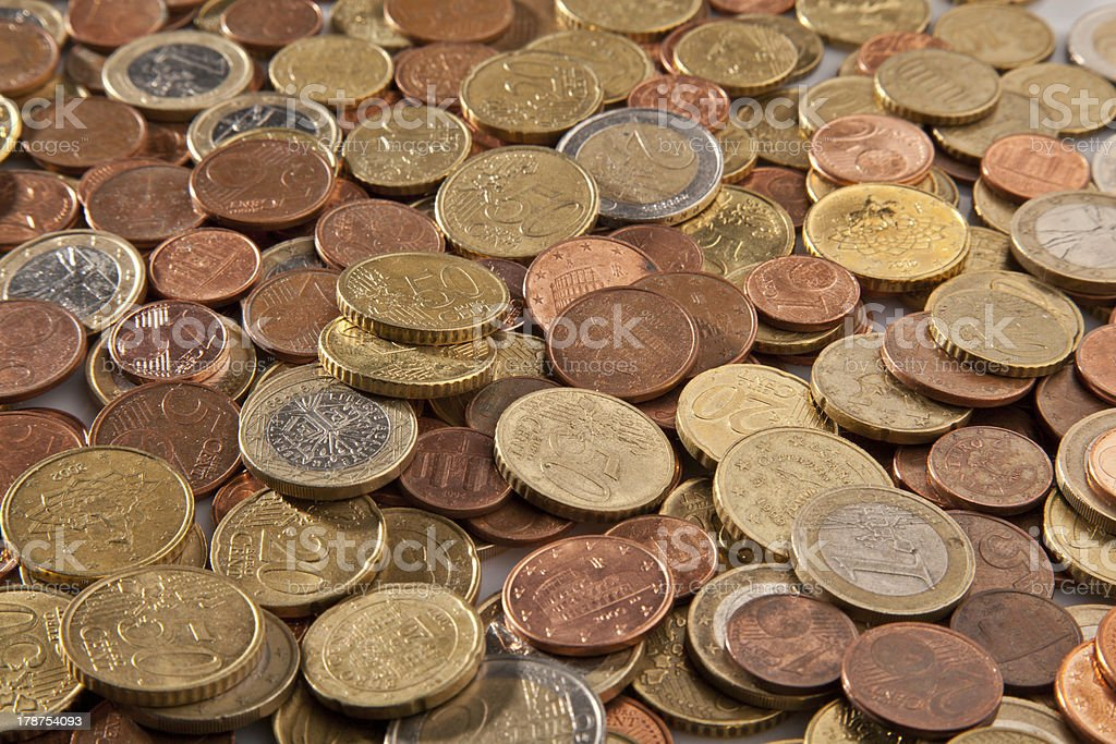 Close-up of Euro coins royalty-free stock photo