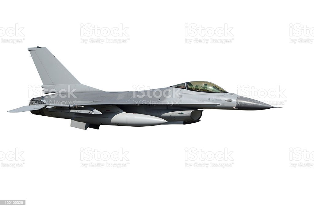 Close-up of F-16 fighter-bomber plane stock photo