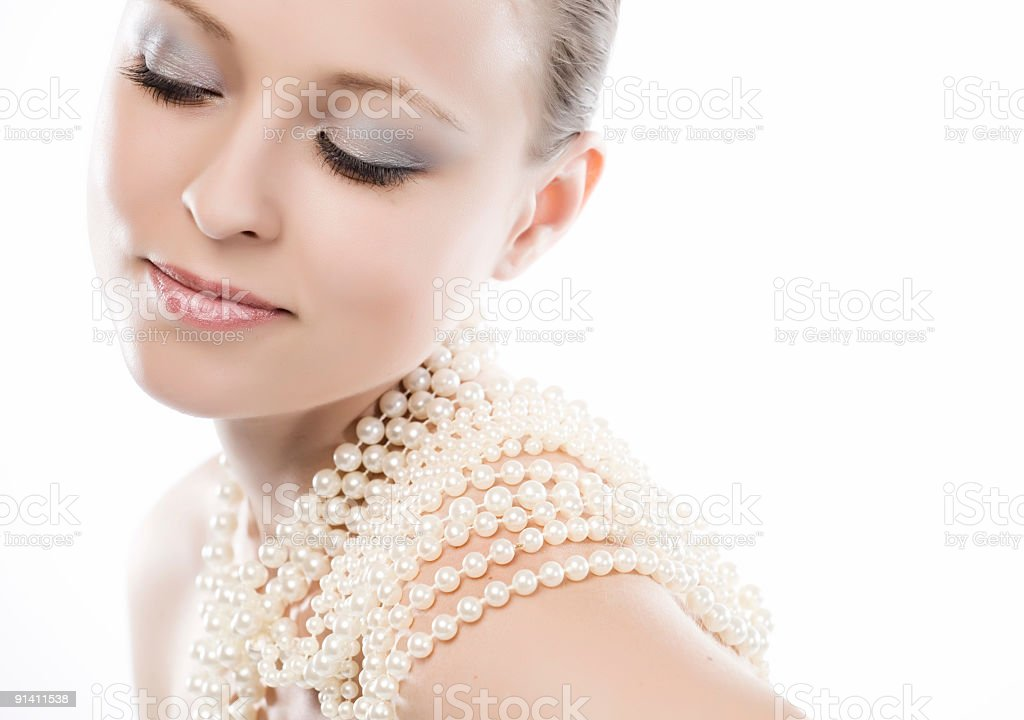 Close-up of face with pearls royalty-free stock photo