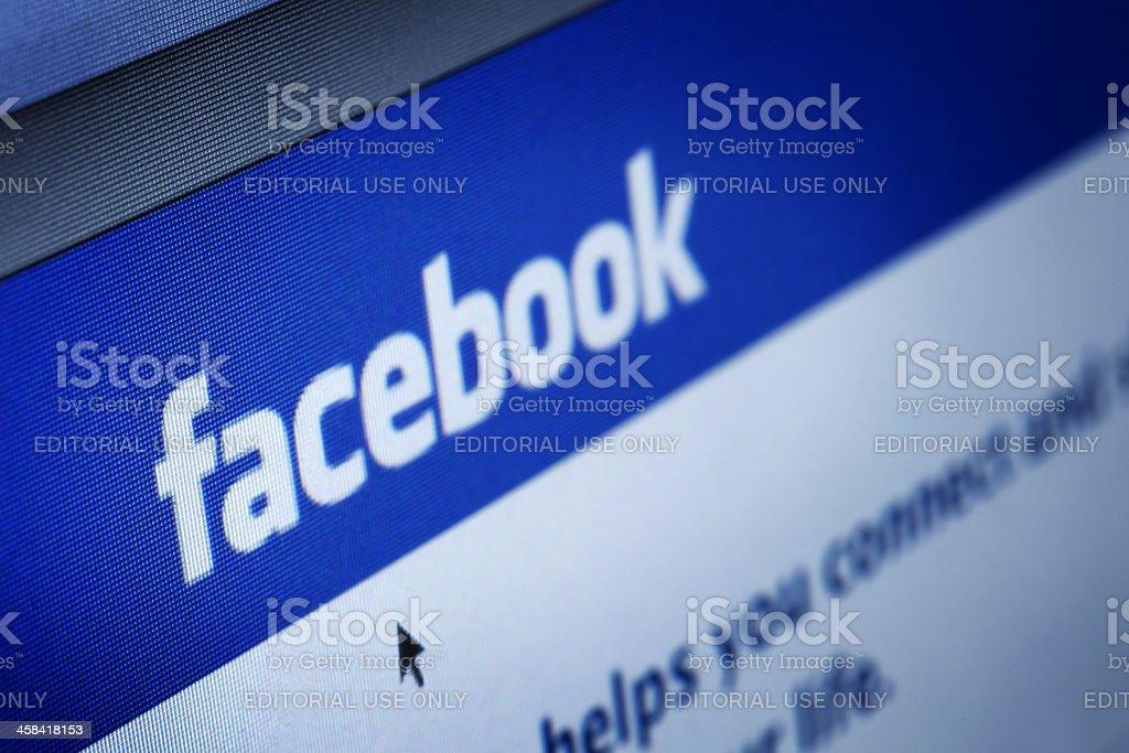 Closeup of Facebook Webpage royalty-free stock photo