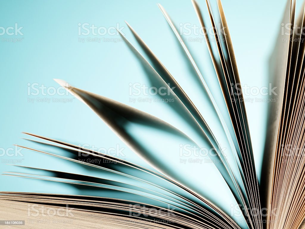 Close-up of fanning book pages on light blue background royalty-free stock photo