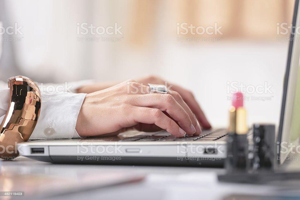 Closeup of fashion hand's woman blogger working. stock photo