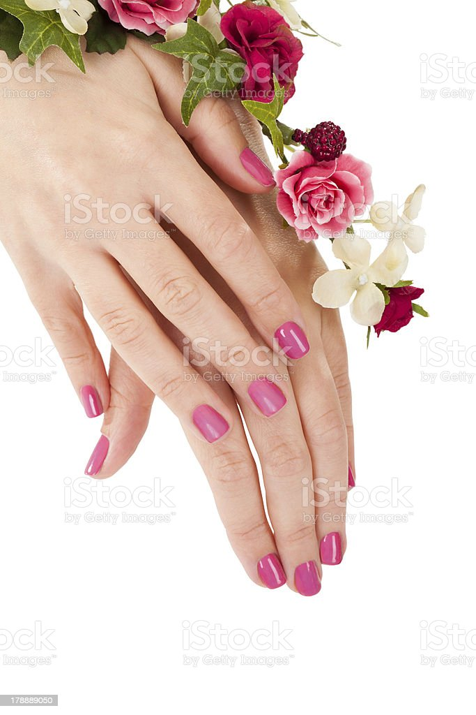 Close-up Of Female Hands And Flowers royalty-free stock photo