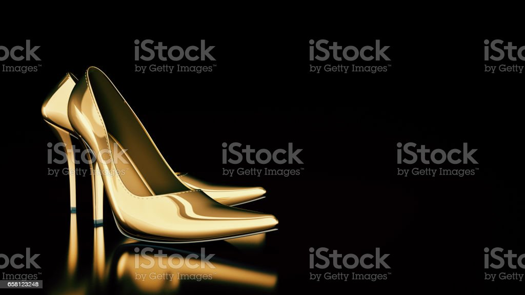 Close-up of female high-heeled shoes. stock photo