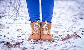 Closeup of female winter shoes