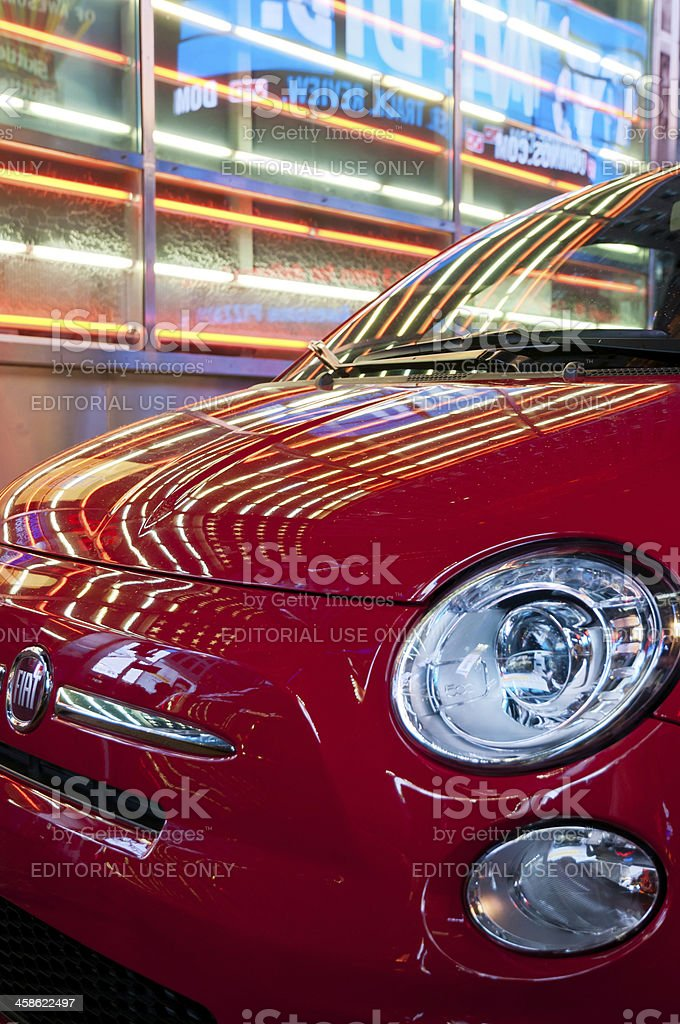 Close-up of Fiat SpA 500 in Times Square royalty-free stock photo