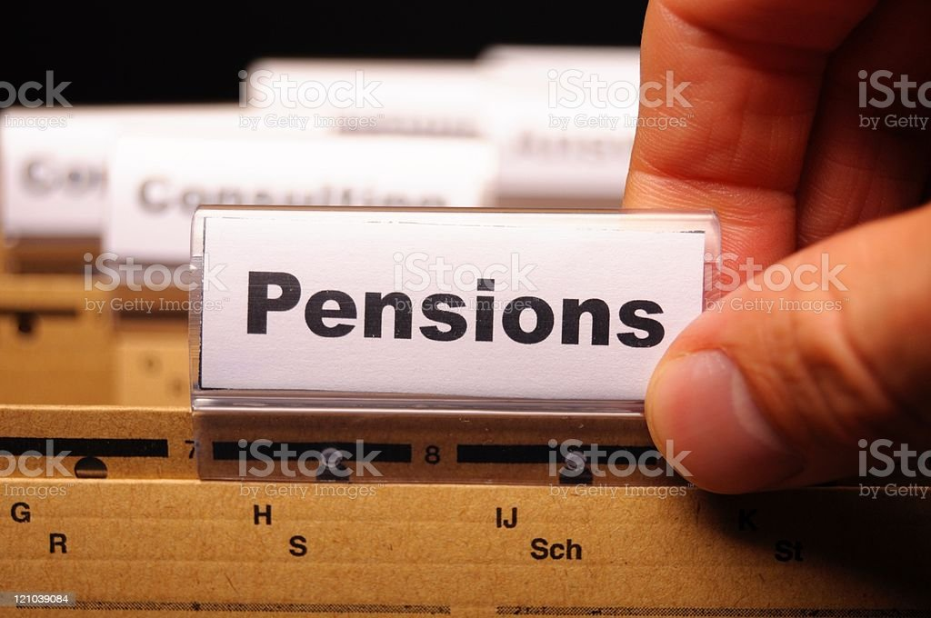 Close-up of file labeled pensions royalty-free stock photo