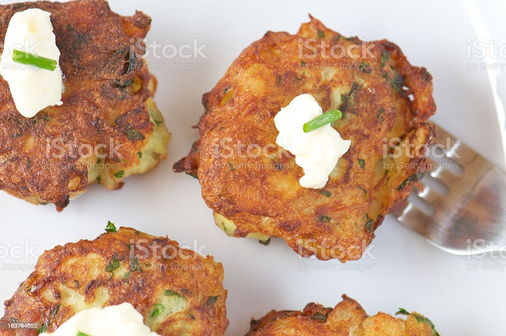 Close-up of Fish Fritter made with Salt Cod on Fork stock photo