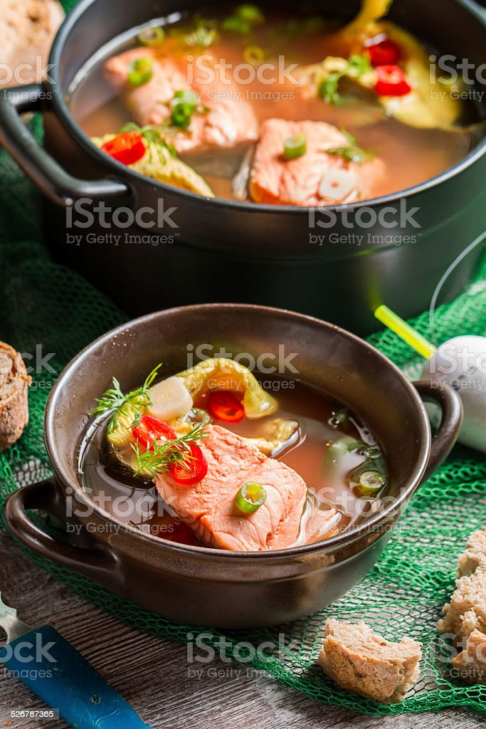 Closeup of fish soup spiced with dill and chilli pepper stock photo