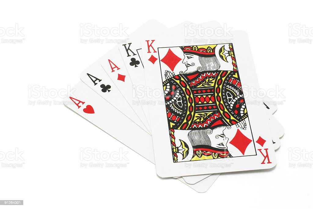 Close-up of five playing cards on white background stock photo