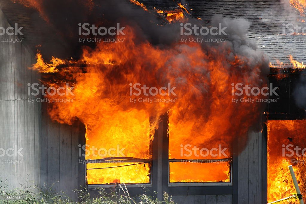Close-up Of Flames From A House Fire stock photo