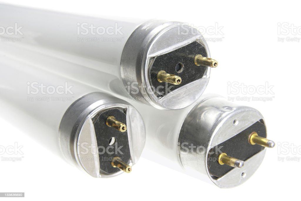 A close-up of fluorescent lightbulb tubes stock photo
