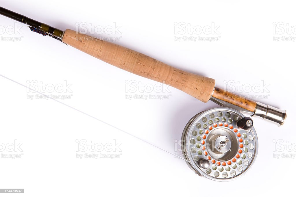 Closeup of Fly Fishing Rod and Reel royalty-free stock photo