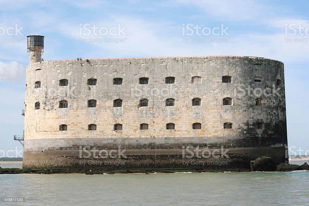 Close-up of Fort Boyard against cloudy background stock photo