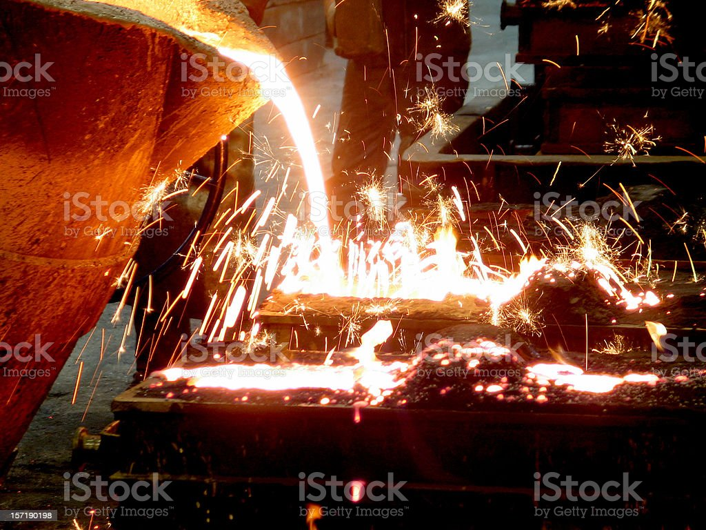 Close-up of foundry with liquid draining royalty-free stock photo