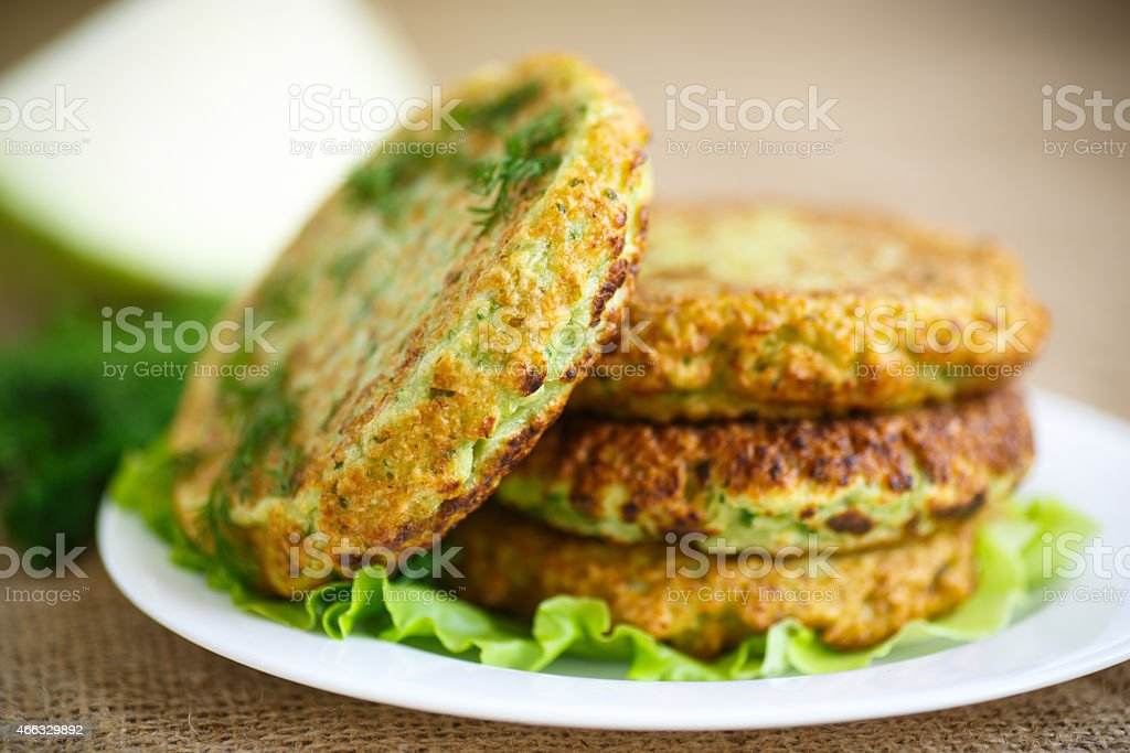 Close-up of four cabbage burger patties stock photo