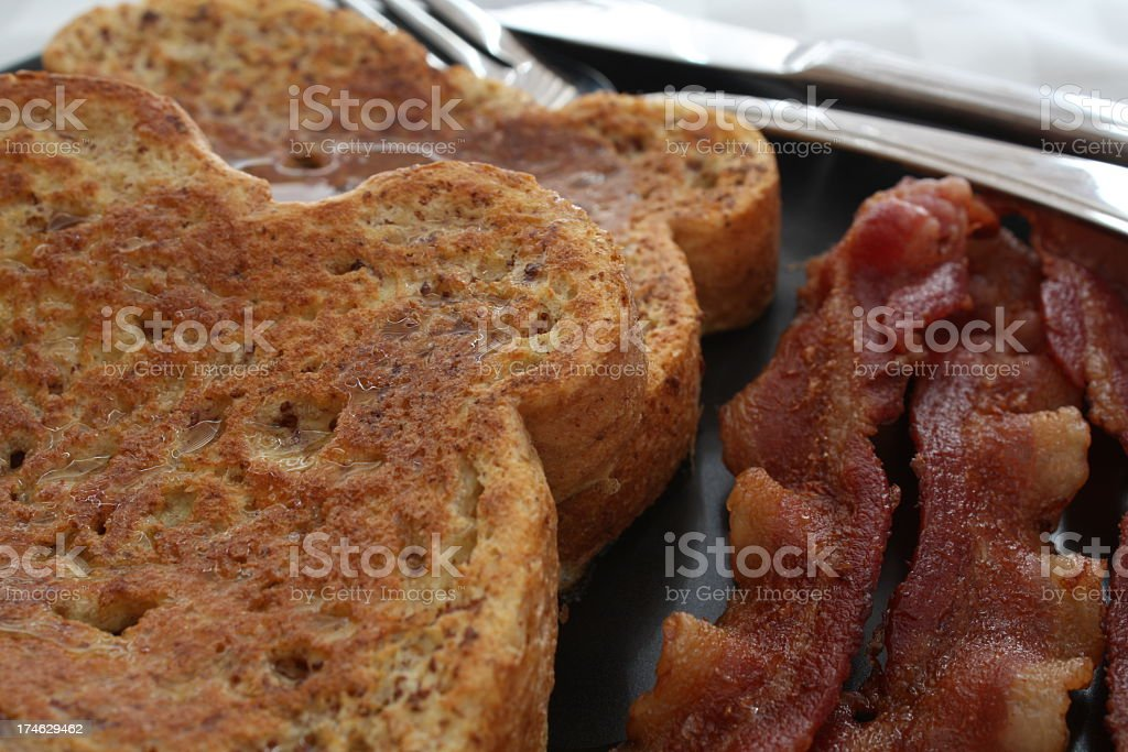 Close-up of French Toast and Bacon royalty-free stock photo