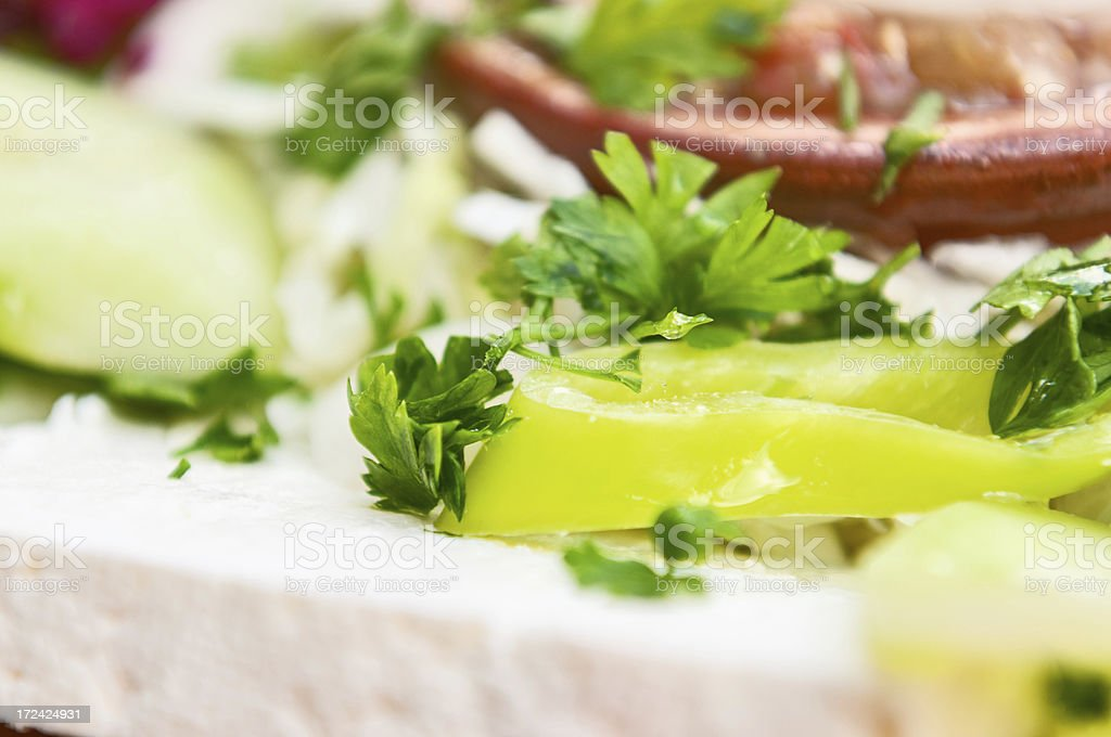 Closeup of Fresh and Delicious Cheese Salad royalty-free stock photo