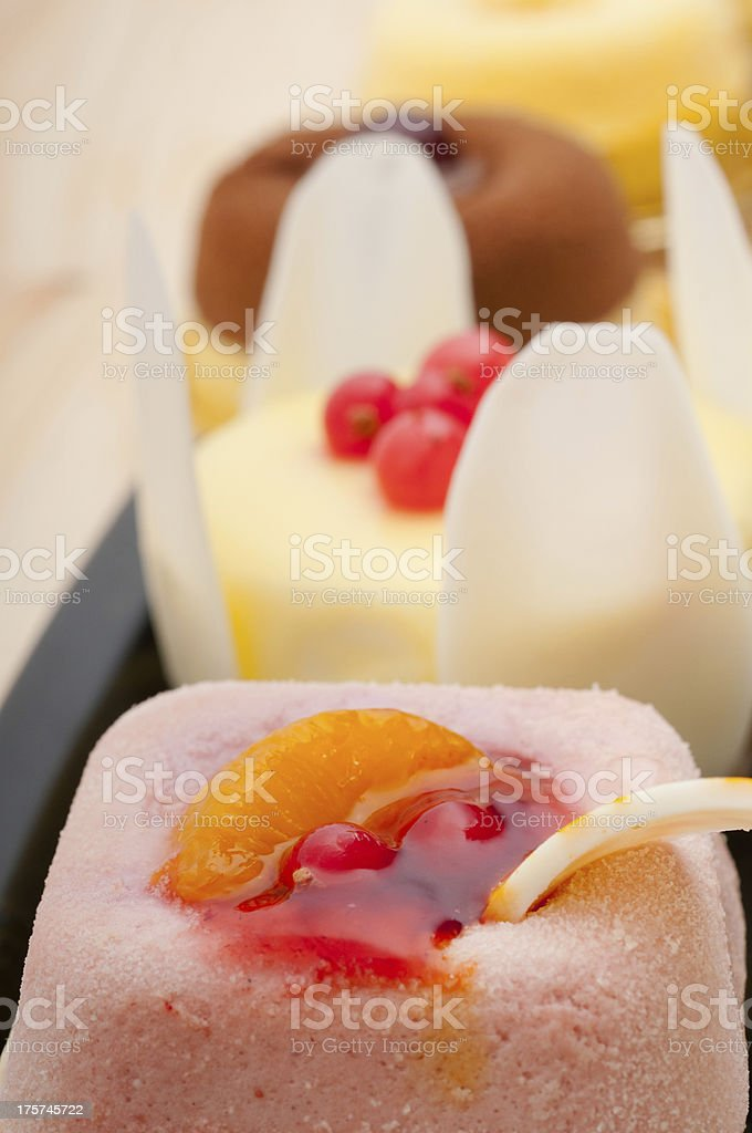 Close-up of Fresh Berry Fruit Cakes on Platter royalty-free stock photo