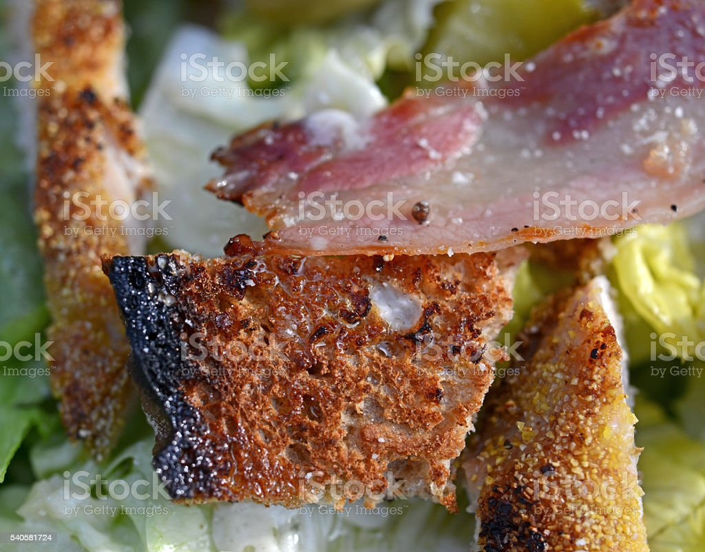 Closeup of fresh Ceaser salad stock photo