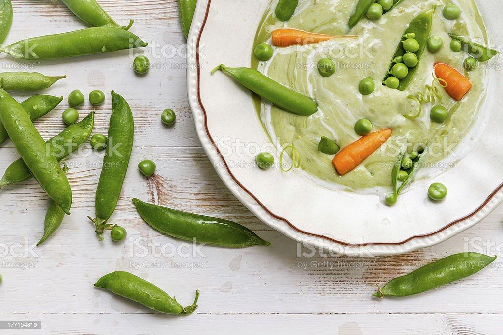 Closeup of fresh green pea soup royalty-free stock photo
