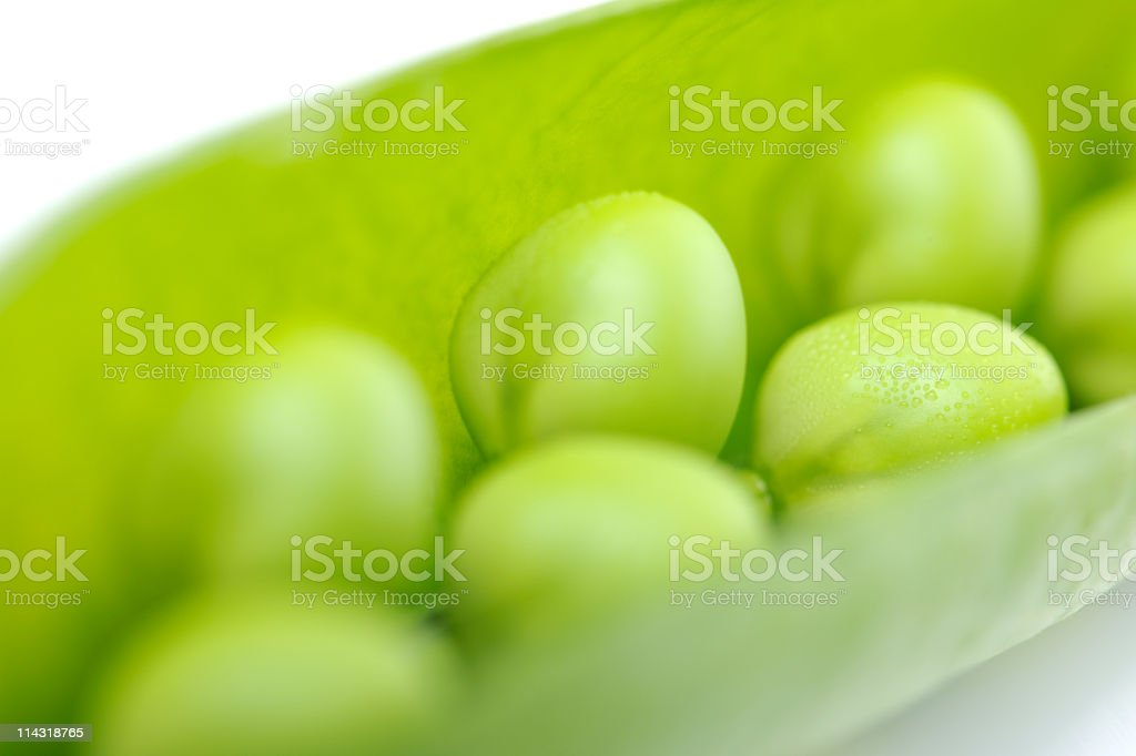 Close-Up of Fresh Green Peas in a Pod series royalty-free stock photo