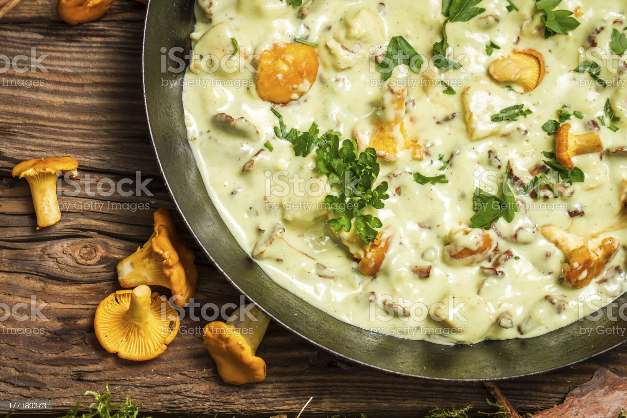 Closeup of fresh mushrooms cooked in a pan with cream royalty-free stock photo