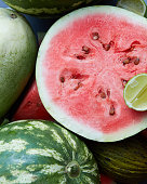Close-up of fresh slices red watermelon