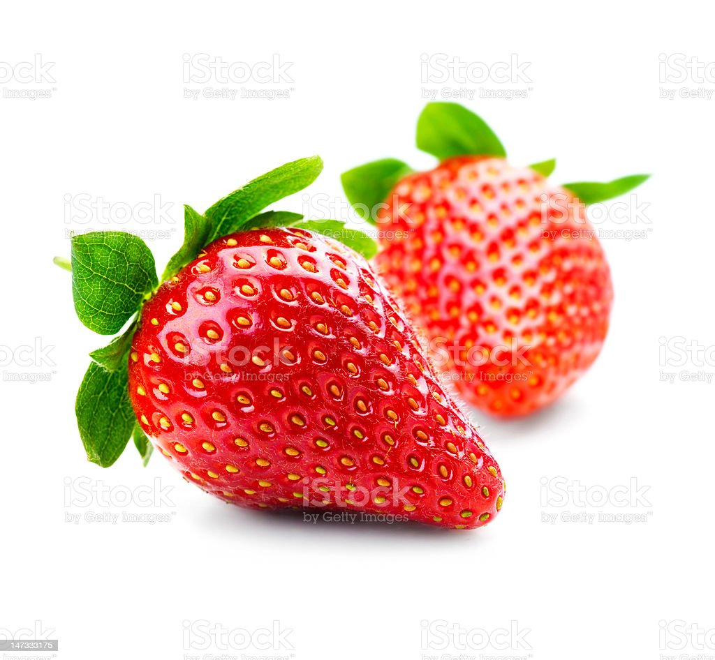 Close-up of fresh strawberries on white background stock photo