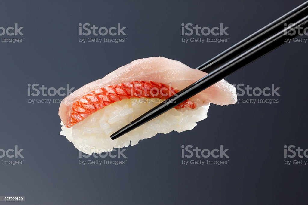 Closeup of fresh sushi/Red snapper stock photo