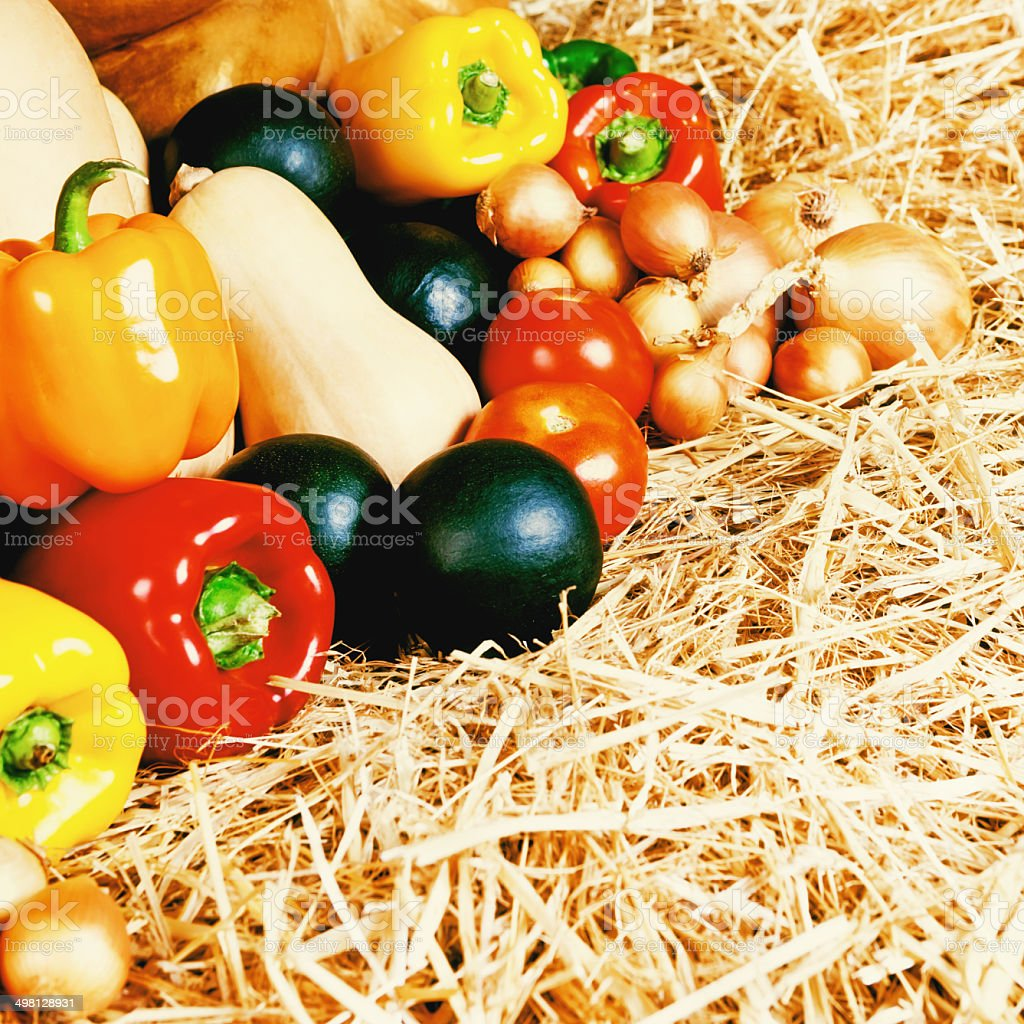 Close-up of fresh vegetables on straw at farmers market royalty-free stock photo