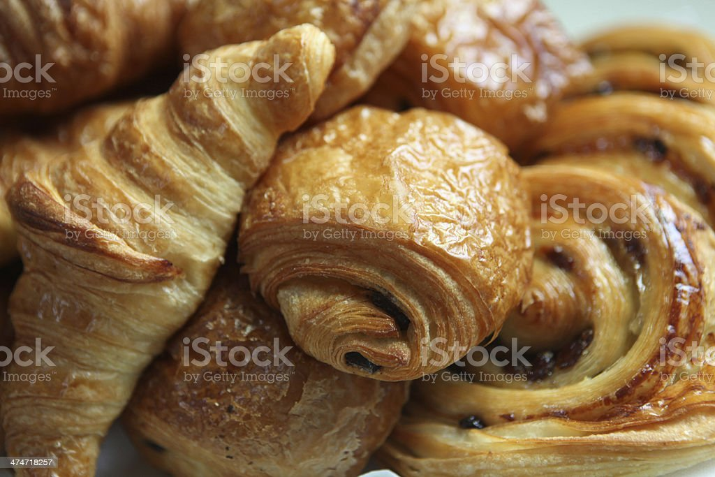 Close-up of freshly baked croissants and French Danish` stock photo